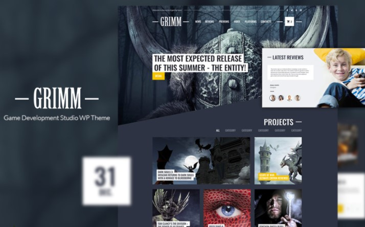 GRIMM lite - Game Development Studio WordPress Theme