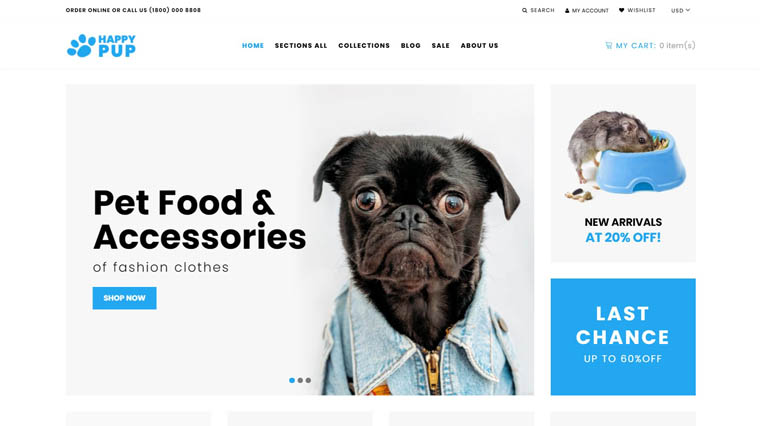 Happy Pup - Pet Shop Store Shopify Theme