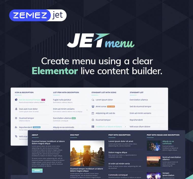 JetMenu - Mega Menu for Elementor Page Builder WordPress Plugin.