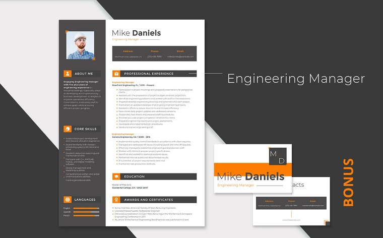 Mike Daniels - Engineering Manager Resume Template.