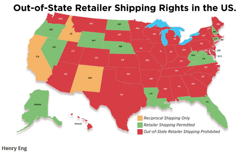 Out-of-State Retailer Direct Shipping Map.