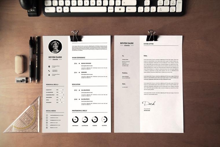 Reven Dark Clean Resume Template.