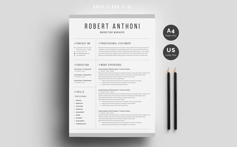 Robert Anthoni Office Manager Resume Template