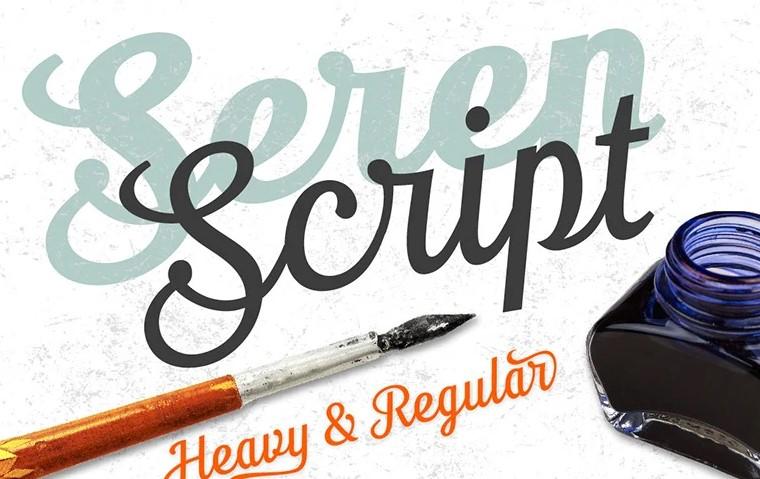 Seren script font.