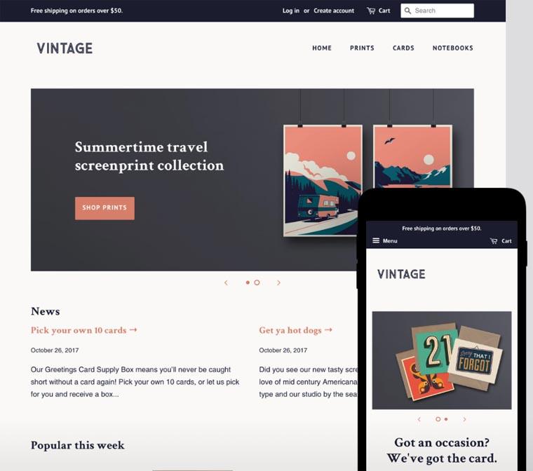 Shopify free theme example.