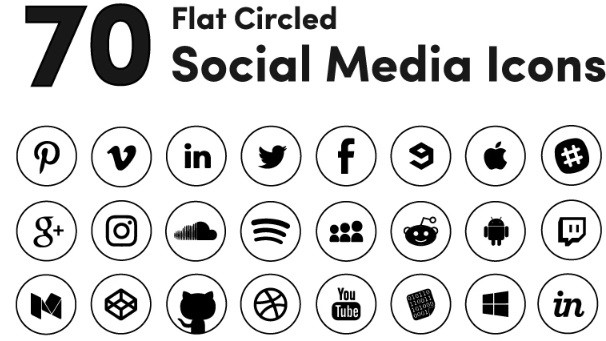 Black Circled Social Media Iconset Template.