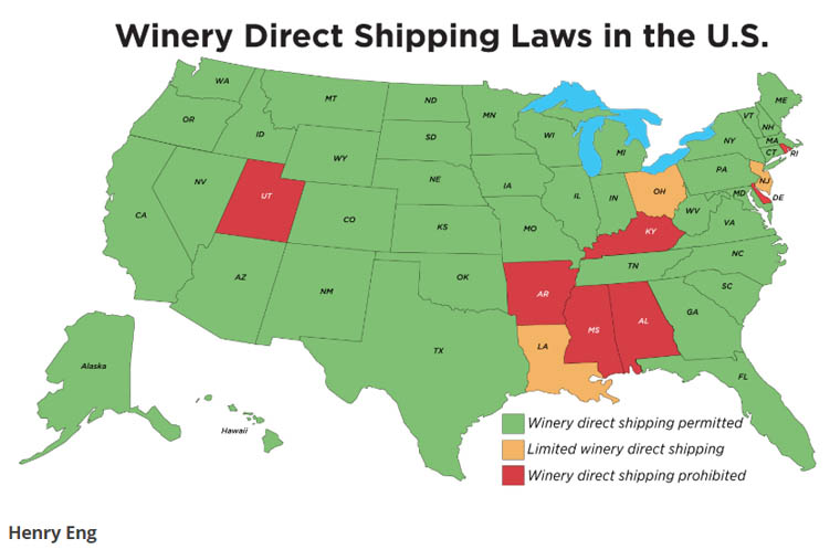Winery Direct Shipping Map.