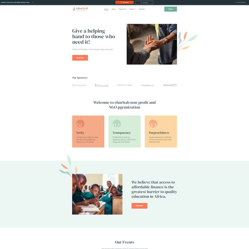 #7 GiveWell - Donation Non-profit Website WordPress Theme