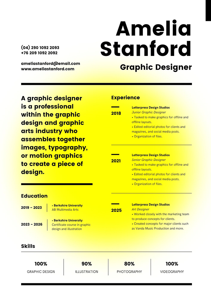 Black and Yellow Graphic Designer Creative Resume