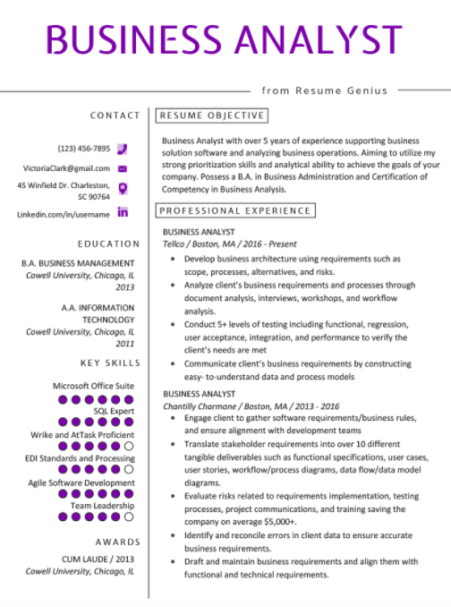 Top Business Analyst Resume Templates 2020