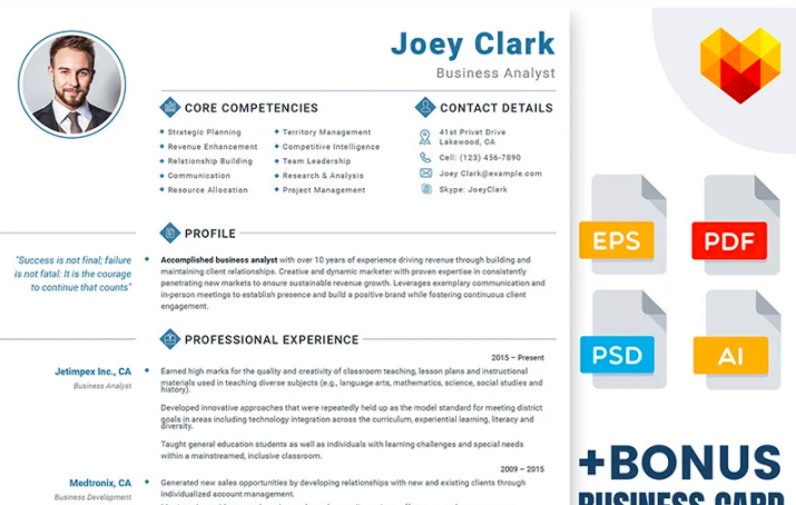 Joey Clark - Business Analyst and Financial Consultant Resume Template