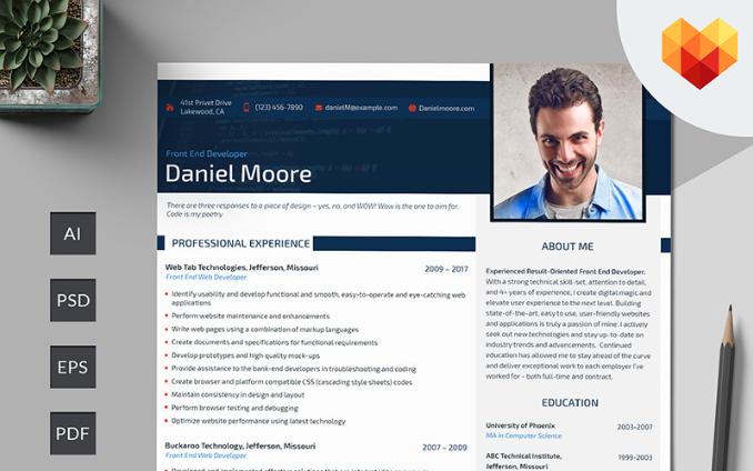 Daniel Moore - Front End Developer Resume Template
