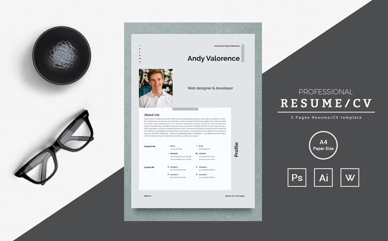 Andy - clean & colorful word Resume Template.