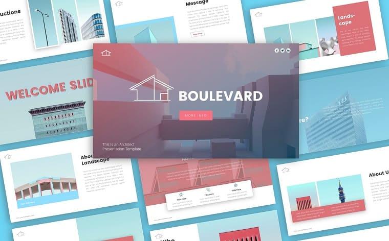 Boulevard Architecture Presentation PowerPoint Template.