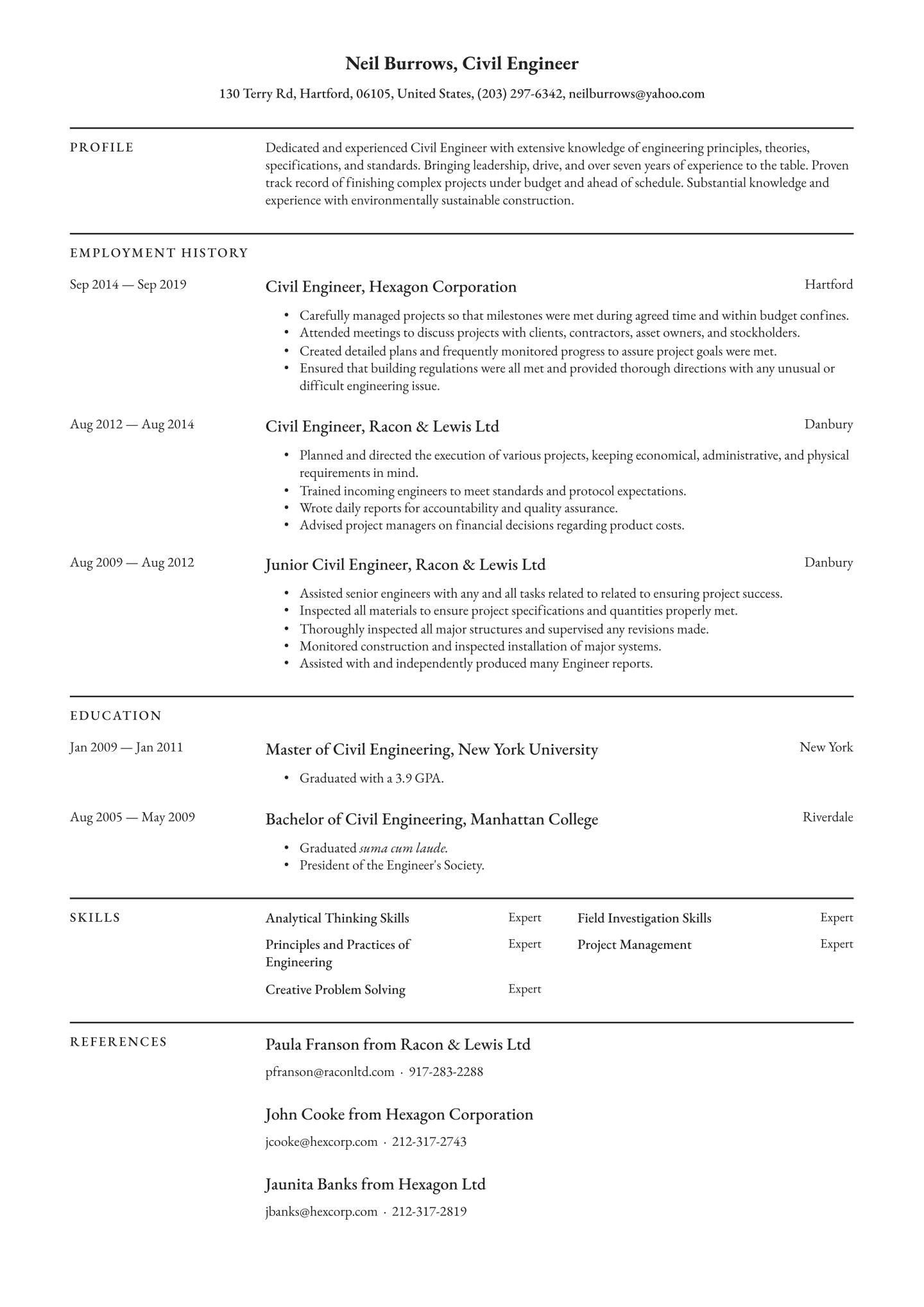 Civil Engineer Resume Example