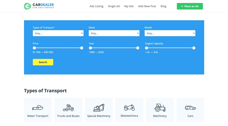 Car Dealer Website Template for Elementor