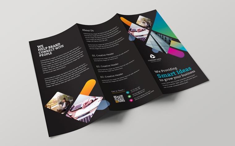 Dark Color Tri-Fold Brochure Corporate Identity Template.