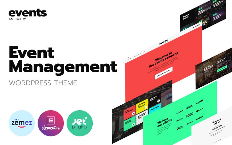 Events company - Innovative Template For Event Management Website WordPress Theme.