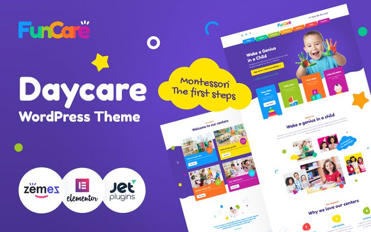 FunCare - Bright And Enjoyable Daycare Website Design Theme WordPress Theme.