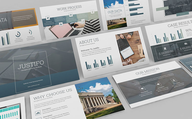 Justifo - Firm PowerPoint TemplateGet this product for Free in ONE Membership