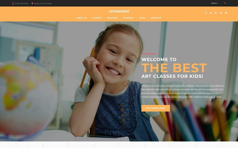 Leonardo Art School for Children WordPress Theme.