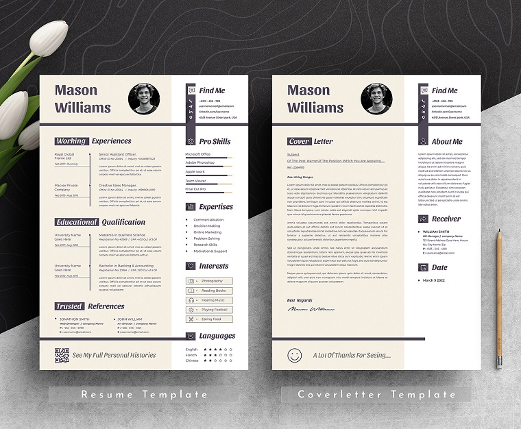 Mason Clean & Professional Editable Word Apple Pages Cv Resume Template