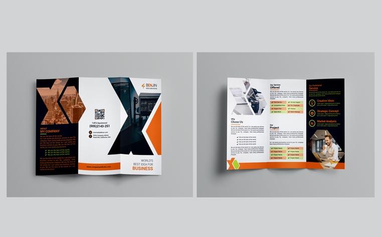 MEGA Tri-Fold Brochure Corporate Identity Template.
