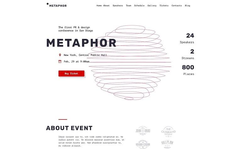 Metaphor - Creative Event Planner WordPress Theme.