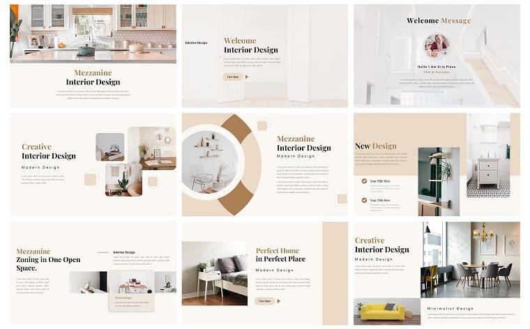 Mezzanine - Interior Presentation PowerPoint Template.