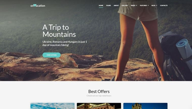 OnVacation - Travel Company Elementor WordPress Theme.