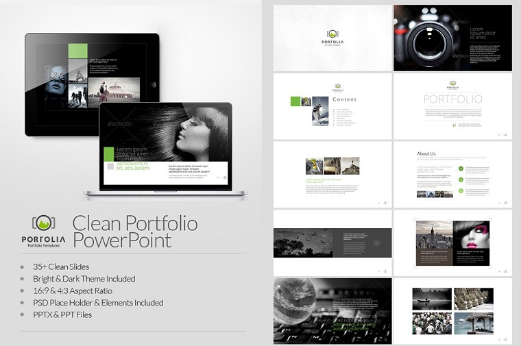 Portfolio - Photography & Product Showcase PowerPoint Template.
