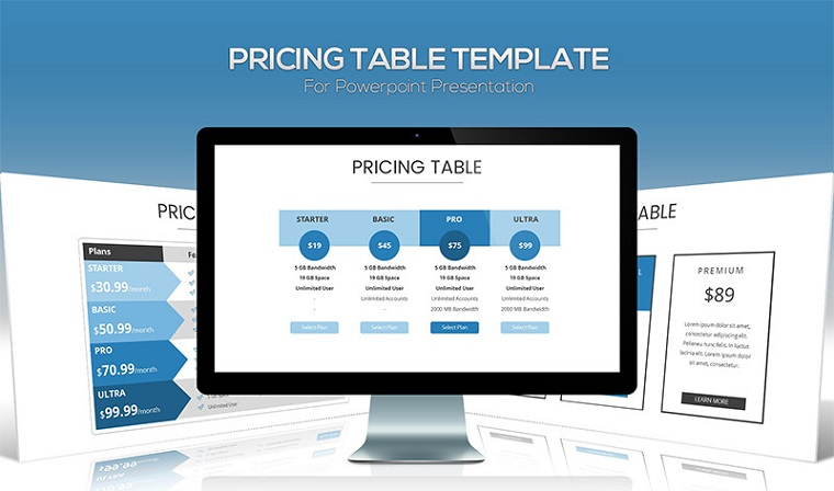 Pricing table PowerPoint template.