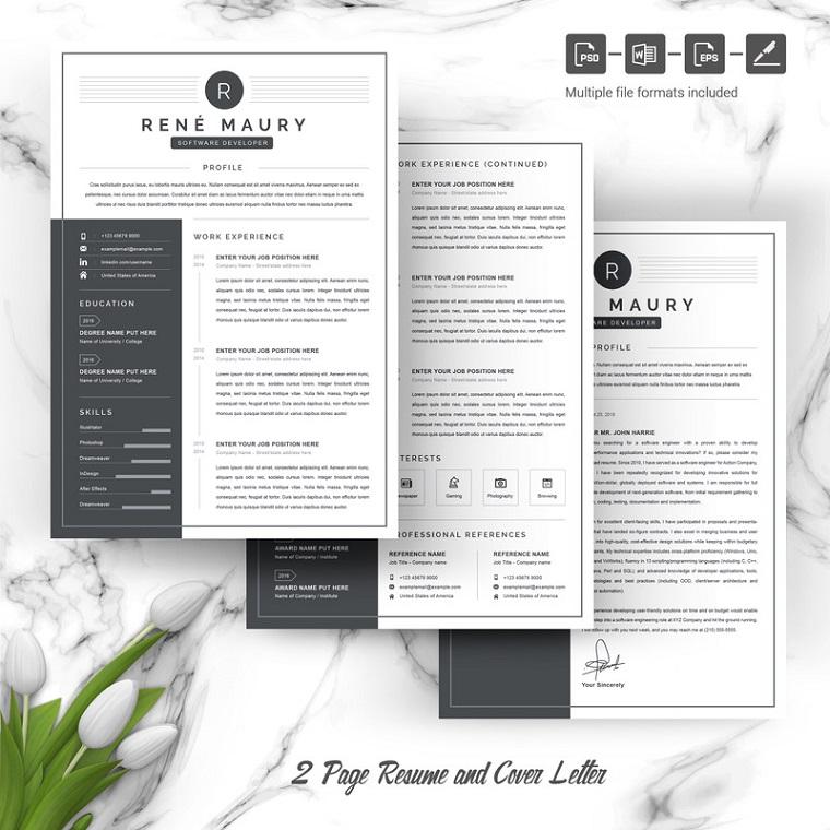 Rene Maury Graphic Designer Resume Template