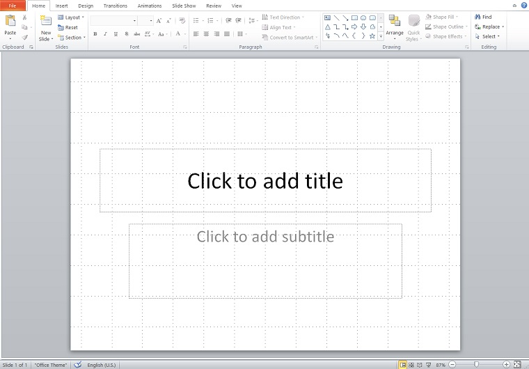 Slide with grid.