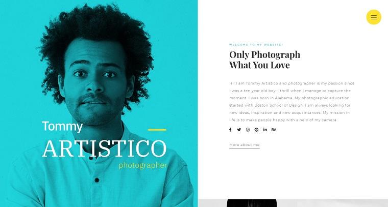 Tommy Artistico - Photographer Gallery Elementor WordPress Theme.