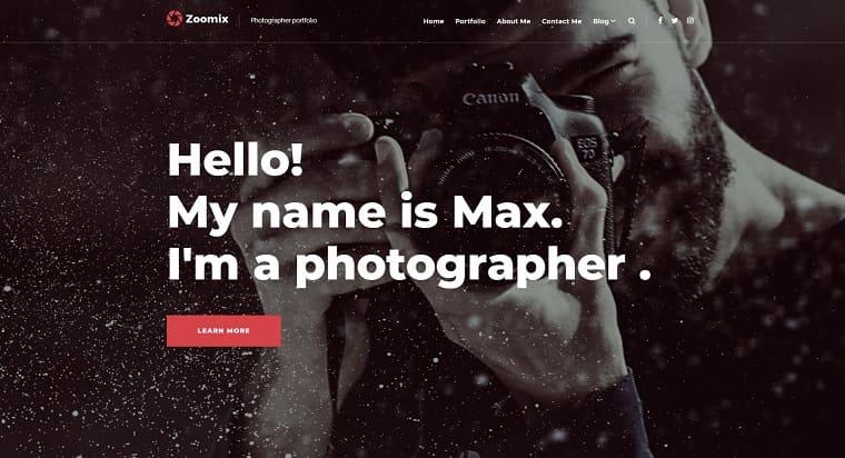 Zoomix Photographers Portfolio Photo Gallery WordPress Theme.