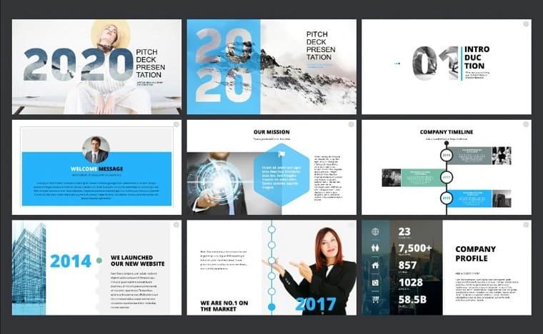 Pitch Deck Blue PowerPoint Template