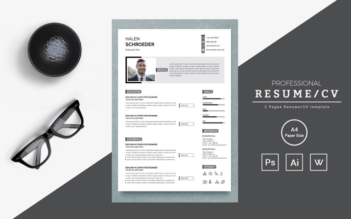 Clean and creative Halen Resume Template