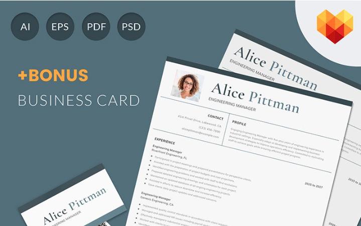 Alice Pittman - Engineering Manager Resume Template