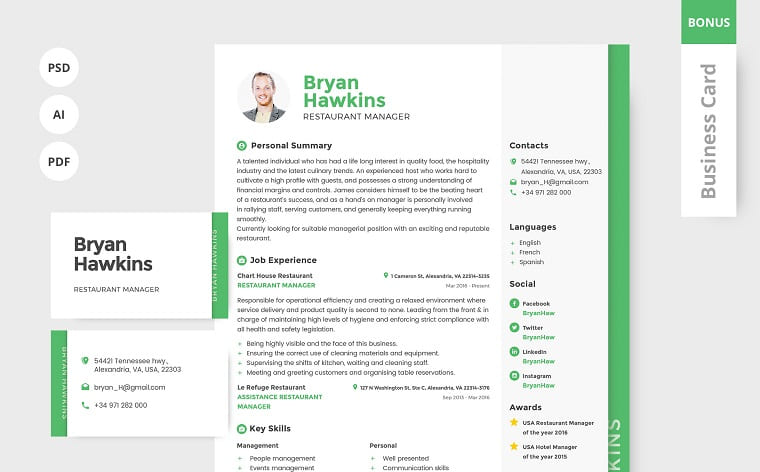 Bryan Hawkins - Bartender Resume Template