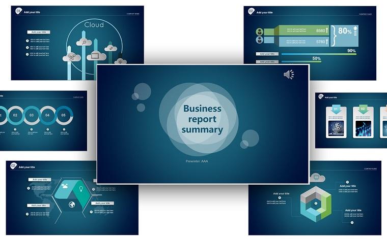 Creative Business Report Summary Cloud Technology Internet PowerPoint Template