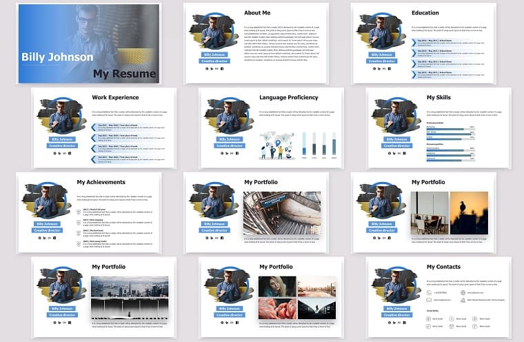 Business Resume PowerPoint Template