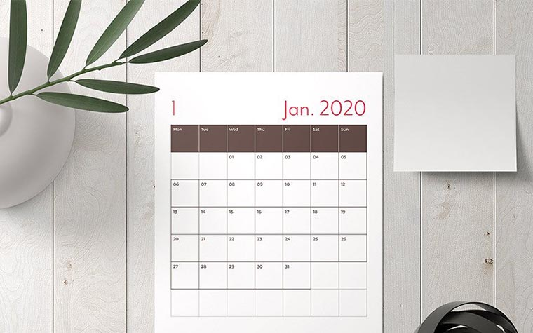 Calendar Planner Layout with Red Accents Planner