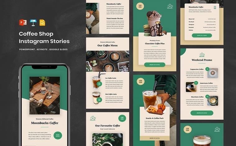 Coffee Shop - Social Media Instagram Stories PowerPoint Template