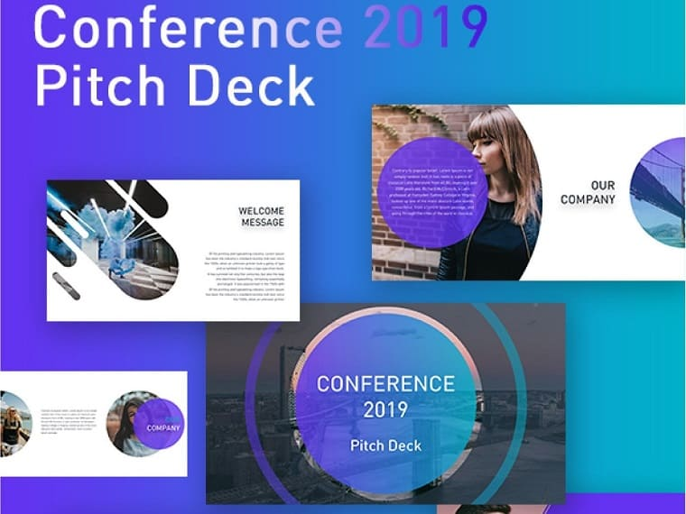 Conference blue PowerPoint template