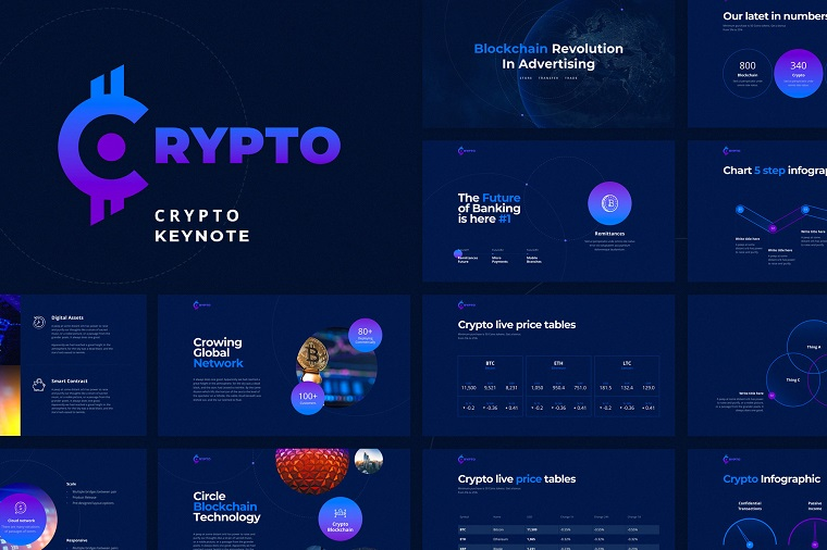Crypto blue PPT template