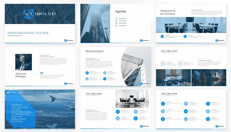 Business pitch deck blue template