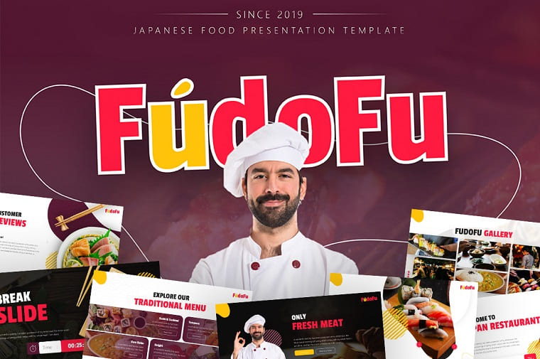 Fudofu Creative Animated Food & Beverage PowerPoint Template