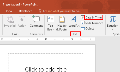 Insert tab, Text group, and click Date & Time.