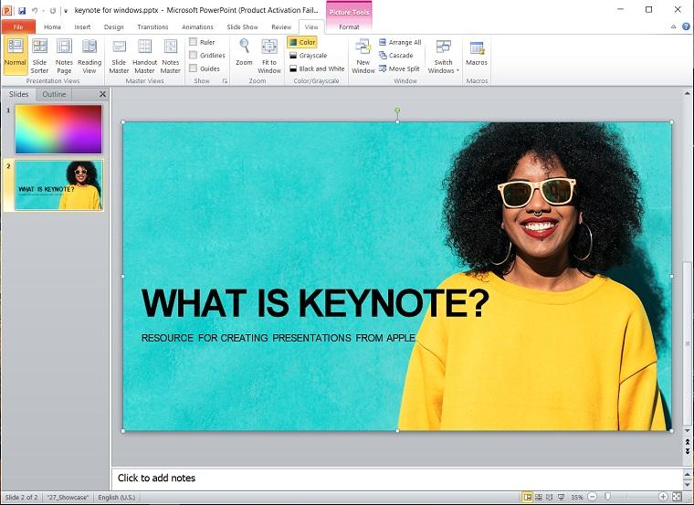 Keynote Open on Windows.